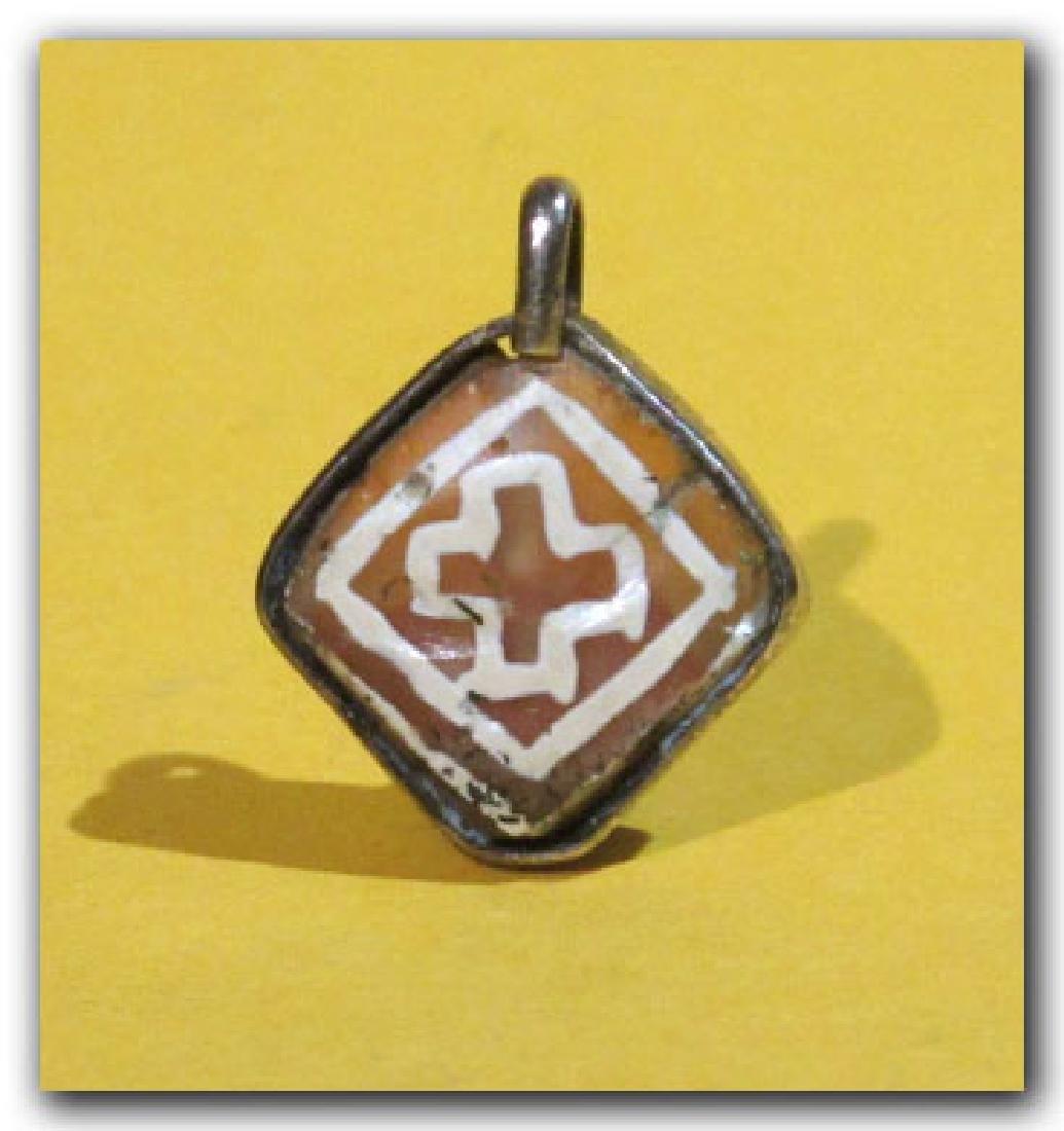 Byzantine Silver and Etched Cornelian Pendant - 2
