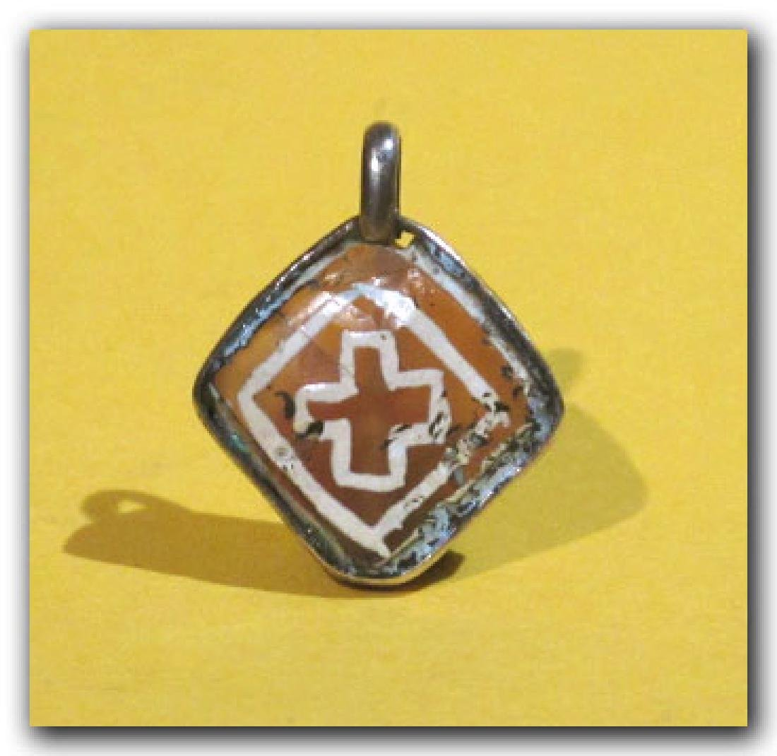 Byzantine Silver and Etched Cornelian Pendant - 3