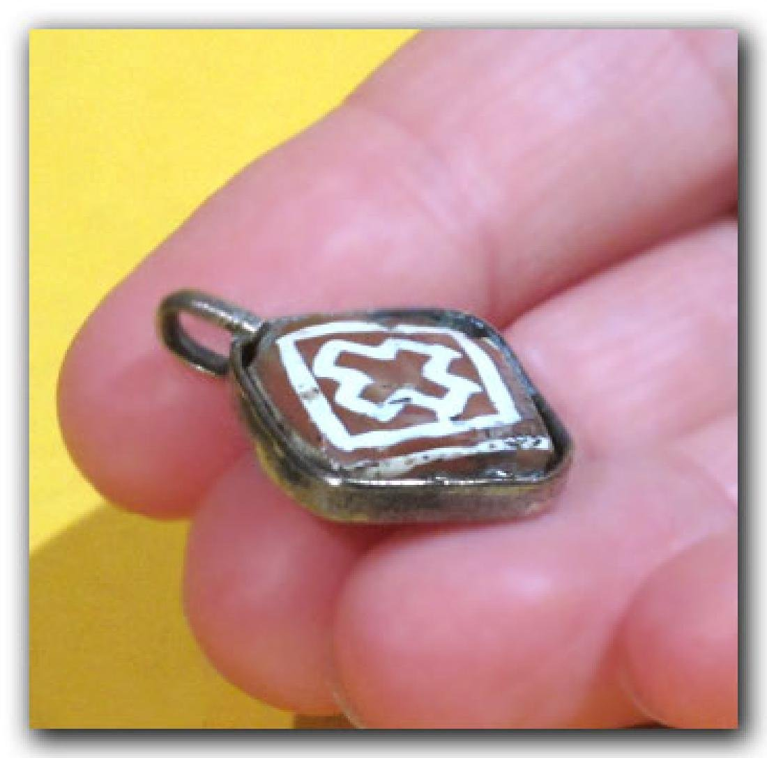 Byzantine Silver and Etched Cornelian Pendant - 4