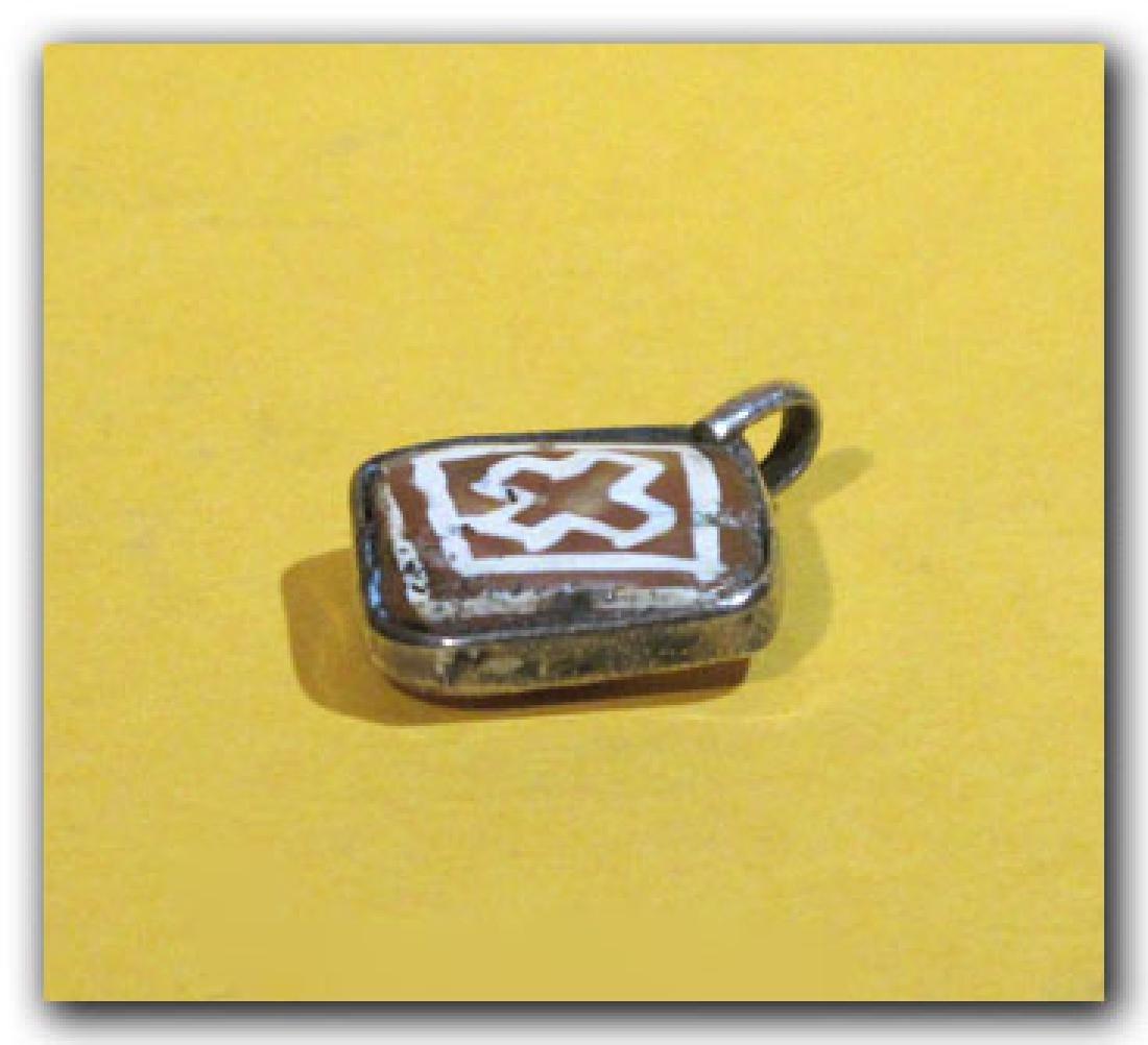 Byzantine Silver and Etched Cornelian Pendant - 5