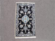 Hand Woven Wool Silk Persian Nain Rug 19x31