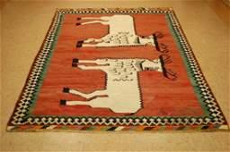 Persian Shiraz Qashkai Kilim Flat Nomadic Rug 5.10x8