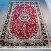 Chinese Red Silk Nain Hand Knotted Rug 5.8x4
