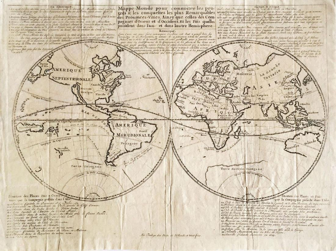East India Co Antique Map of the World 1670