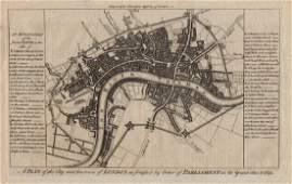 Harrison: Antique Civil War Plan of London in 1642/3