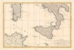 Zannoni: Antique Map South Italy, Sicily Sardinia 1780