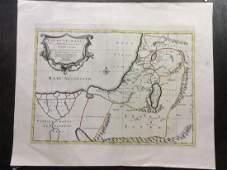 Martier Antique Map of Holy Land Jerusalem 1705