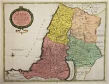de la Rue Antique Map of Holy Land 1730