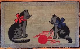 Folk Art Cats Hooked Rug