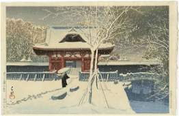 Kawase Hasui First Edition Woodblock Temple Gate Snow