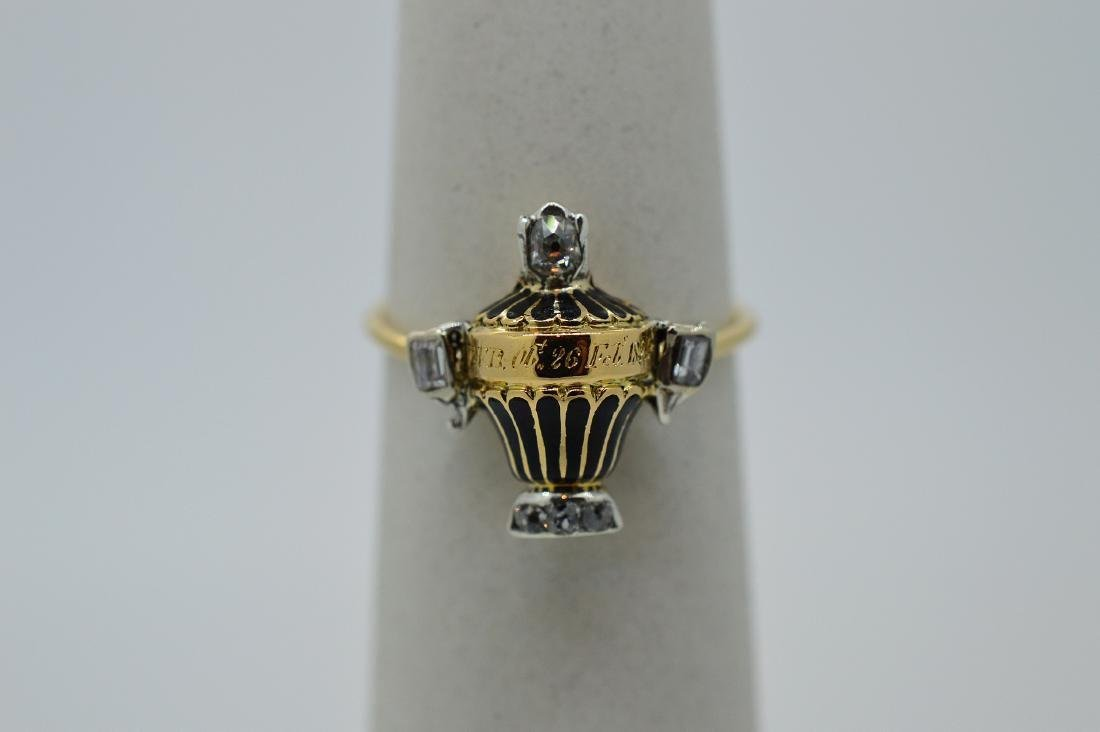 Antique Georgian 14K Gold Enamel Diamond Funeral Ring