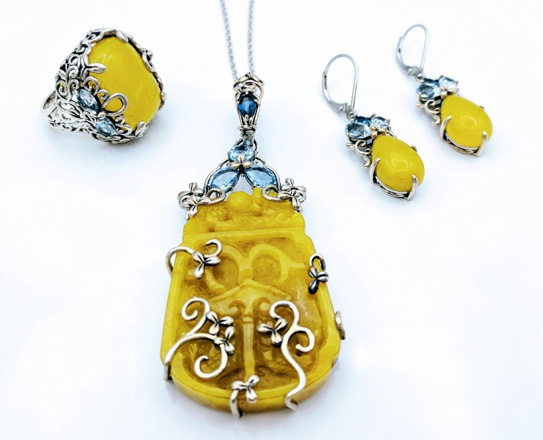 Sterling Silver Yellow Jade Aquamarine Jewelry Set