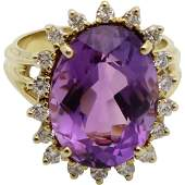 Vintage 18K Gold Amethyst Diamond Halo Ring