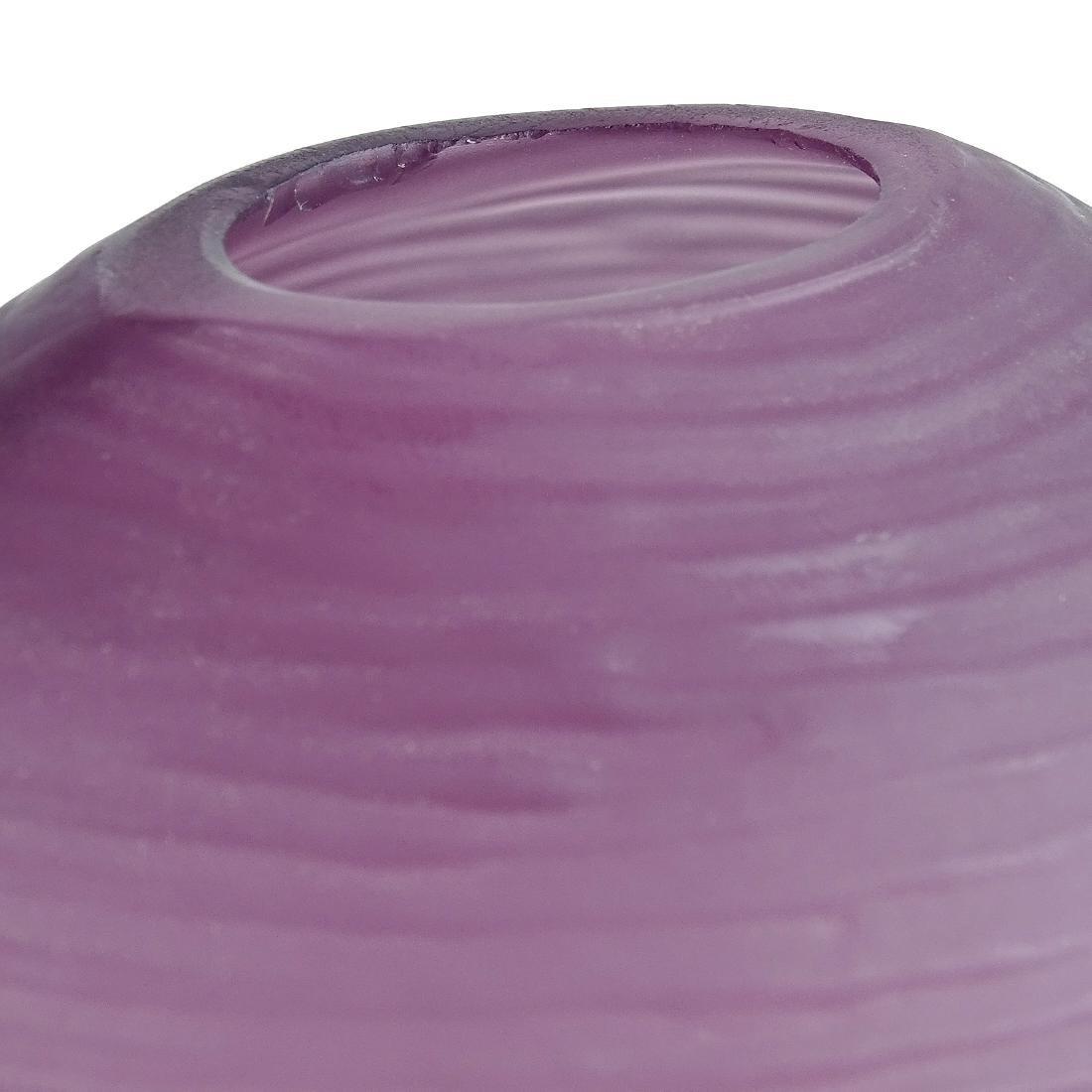 Purple Ripple Surface Satin Art Glass Vases - 3