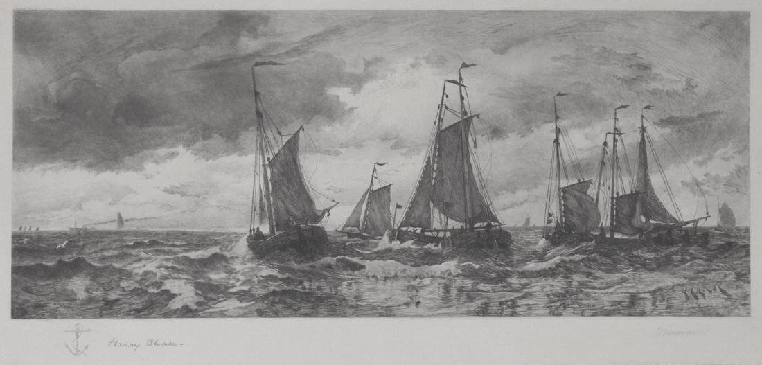 Thomas Moran Etching Coming to Anchor