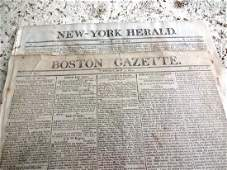 1802 TWO Early American Newspapers Boston New York