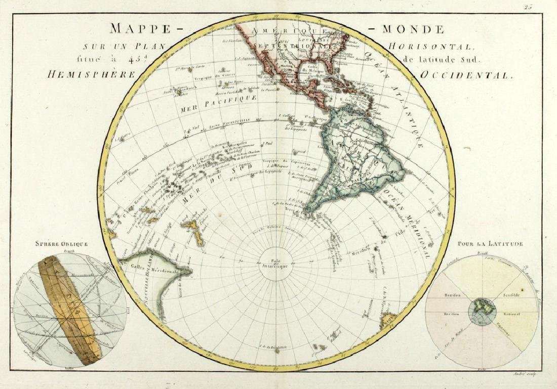 Bonne: Antique Map of the Western Hemisphere. 1787