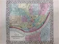Mitchell: Antique Map of Cincinnati, 1869