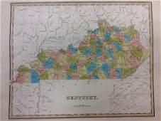 Bradford Antique Map of Kentucky 1838