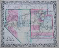 Mitchell: Antique Map of Utah and Nevada, 1870