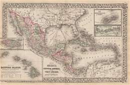 Mitchell: Antique Map of Mexico & Central America, 1872