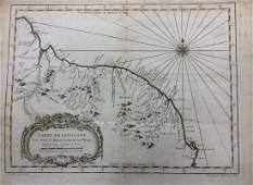 Bellin: Antique Map of Guyana's and Coastline, 1750