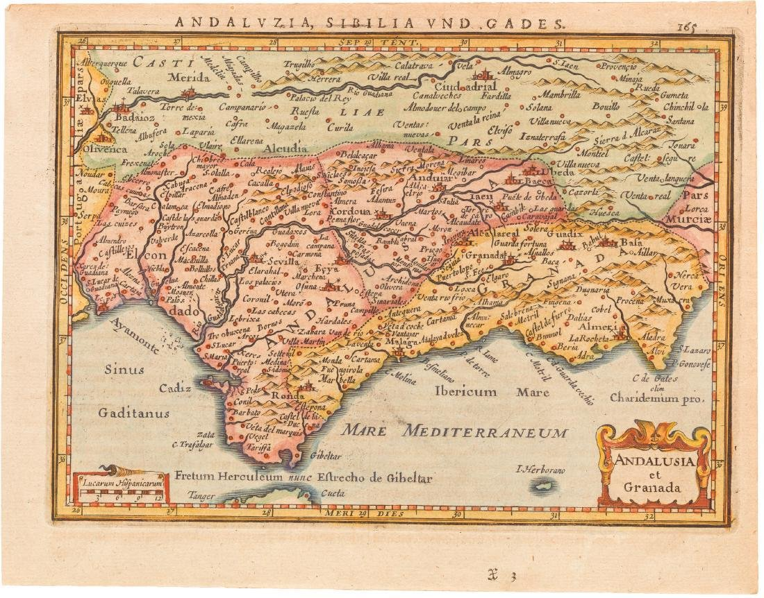 Map Of South Spain.Mercator Janssonius Antique Map Of South Spain 1630