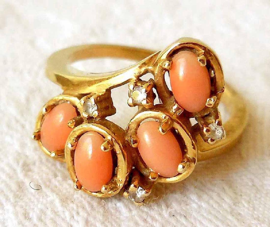 Vintage 14K Gold Angel Skin Coral Diamond Ring