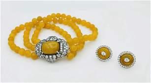 Sterling Silver Yellow Jasper CZ Bracelet Earrings Set