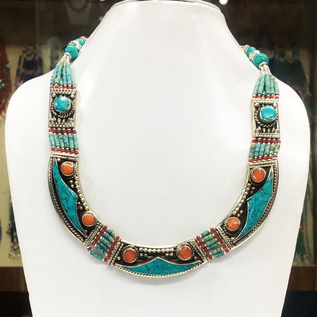 Ladies Tibetan Silver Turquoise Coral Necklace