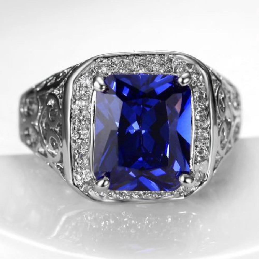 14K White Gold Sapphire Ring, 5.15 ct