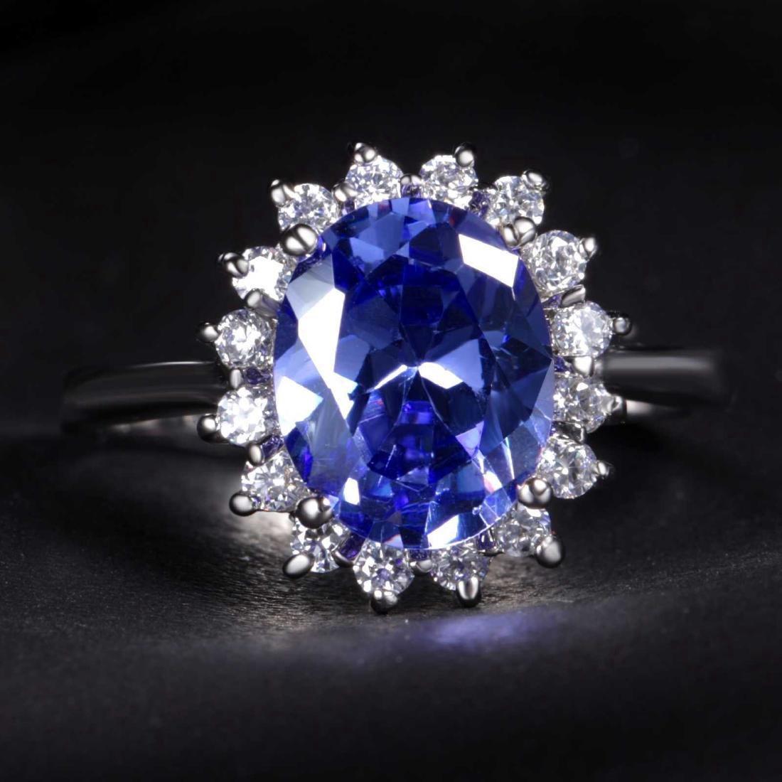 14K White Gold Sapphire White Topaz Ring, 3.50 ct