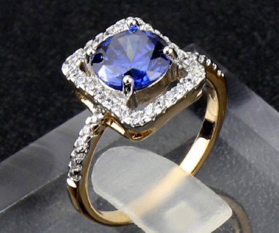 14K Yellow Gold Sapphire Diamond Ring, 2.05c