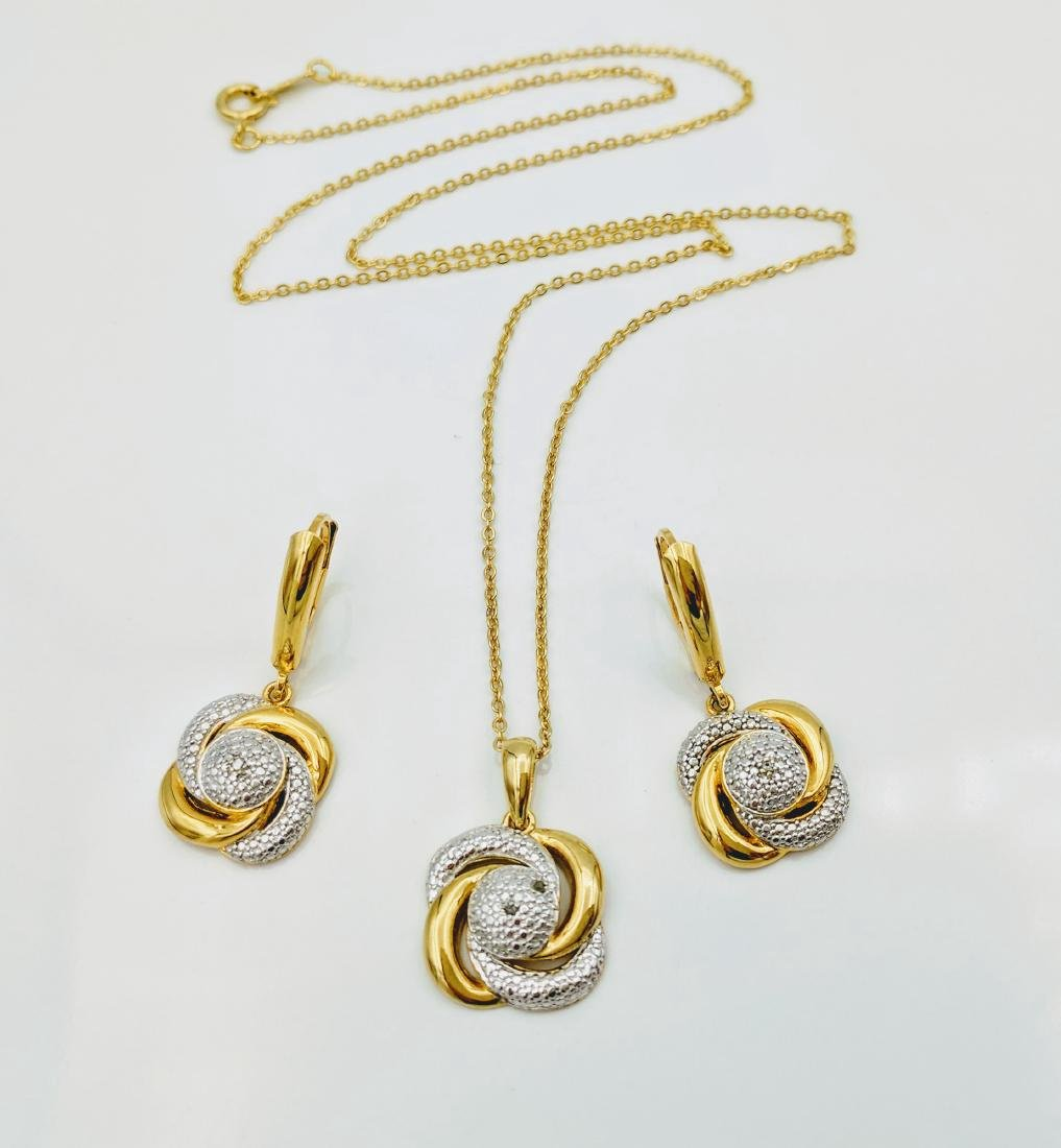 Gold Plated Silver Diamond Pendant Earrings Set