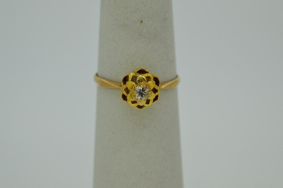 Antique Ladies 14k Yellow Gold Diamond Ring, .05ct
