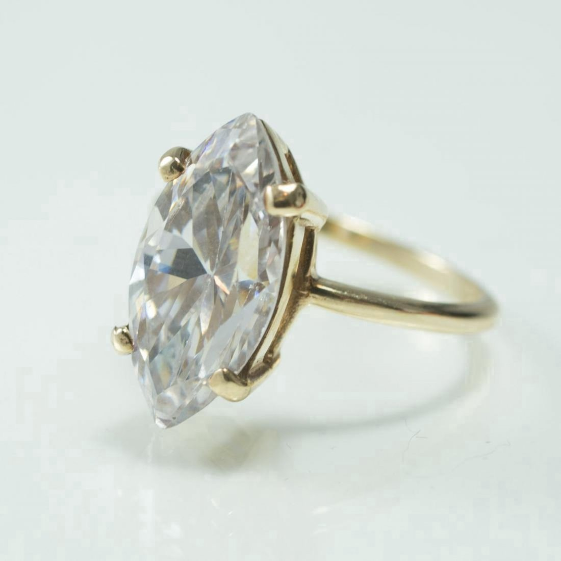 Vintage 10K Yellow Gold Cubic Zirconia Ring, 5ct