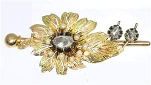 Antique Victorian 18K Gold Diamond Pearl Flower Brooch