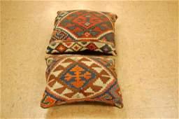 2 Antique Caucasian Rug Wool Pillows 1.6x1.8