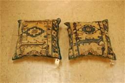 2 Fine Antique Caucasian Rug Wool Pillows 1.5x1.5 Each
