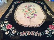 Antique American Large Size Hooked Rug 9.9x13.5