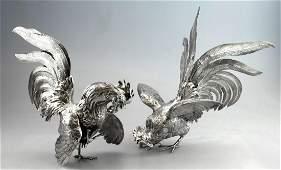 Pair Vintage Figural Sterling Silver Rooster Sculptures