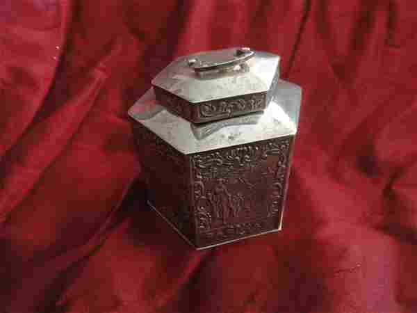 Antique Continental Sterling Silver Tea Caddy, ca 1900