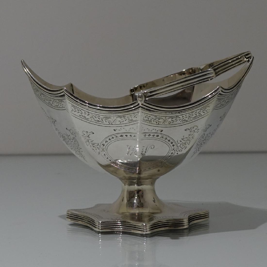 Antique George III Bateman Sterling Silver Sugar Basket - 3