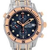 Omega Seamaster Titanium 18K Rose Gold Blue Dial Watch