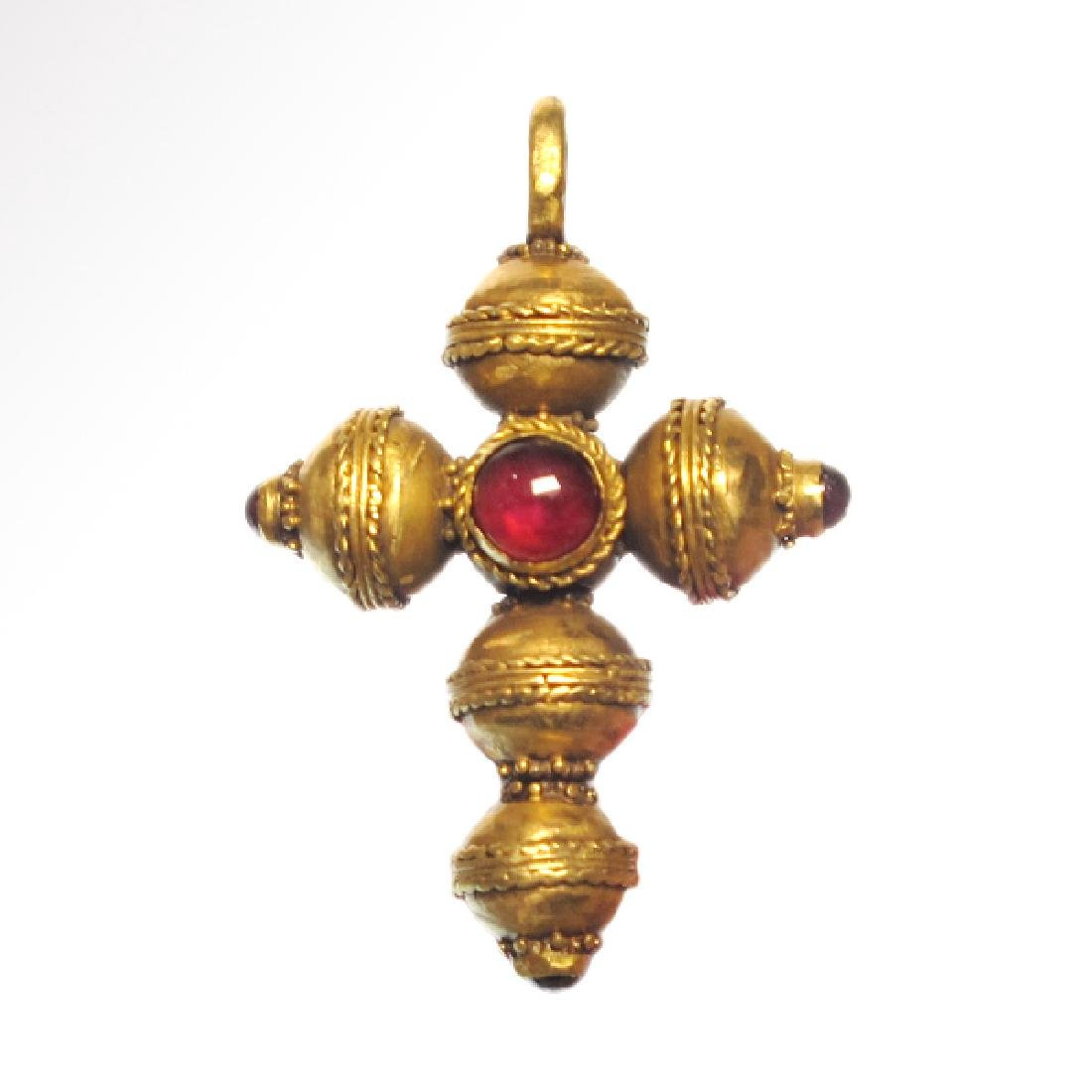 Byzantine Gold and Garnet Cross, c. 11th-12th Century