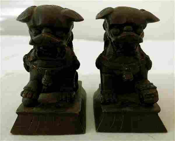 Antique Pair Miniature Bronze Foo Dogs