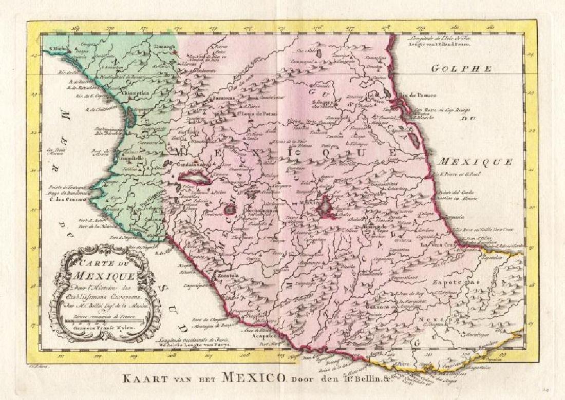 Bellin: Antique Map of The Mexican Heartland, 1754