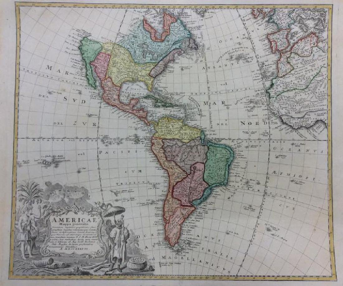 Homann Heirs: Antique Map of North & South America 1746