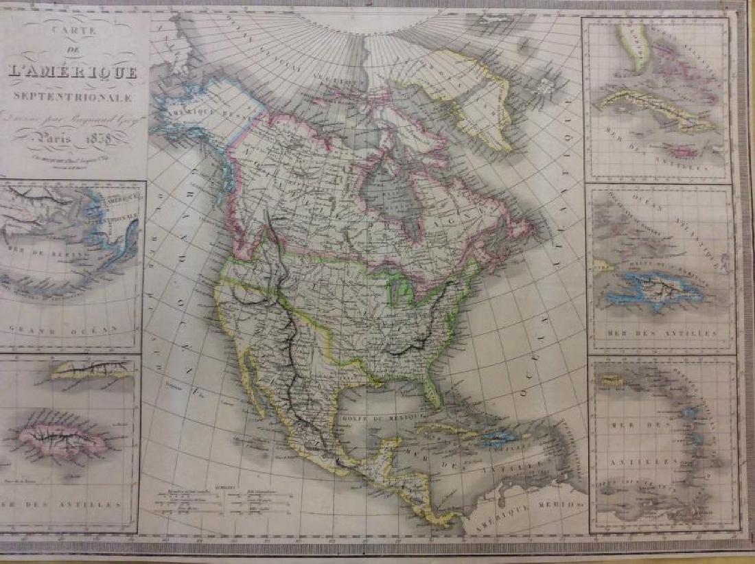 Raynaud: Antique Map of North America, 1838