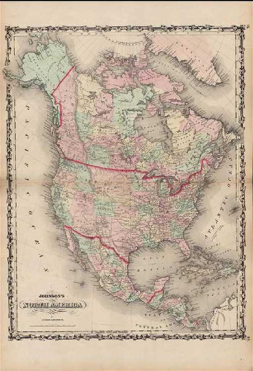 Map Of America In 1861.Johnson Antique Map Of North America 1861